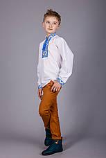 Вышитая рубашка крестиком на белом батисте с оригинальным узором, фото 3