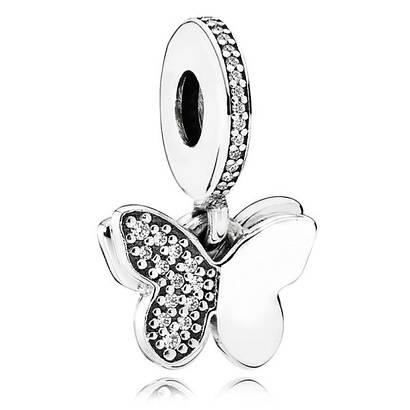 Подвеска из серебра «Порхающие бабочки» в стиле Pandora