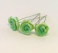 Шпилька для волос металл Розочка Зелёная ткань-36 шт.- 6,5 см.