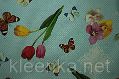Скатерть - клеёнка  на стол Летние бабочки, фото 3