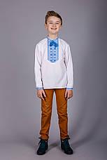 Вишита сорочка на хлопчика з синім візерунком, фото 2