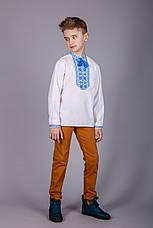 Вишита сорочка на хлопчика з синім візерунком, фото 3
