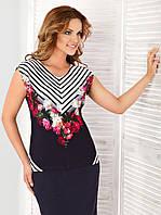Женская летняя блуза с полоской и цветочным рисунком. Модель Swieta Top-Bis, коллекция весна-лето 2016.