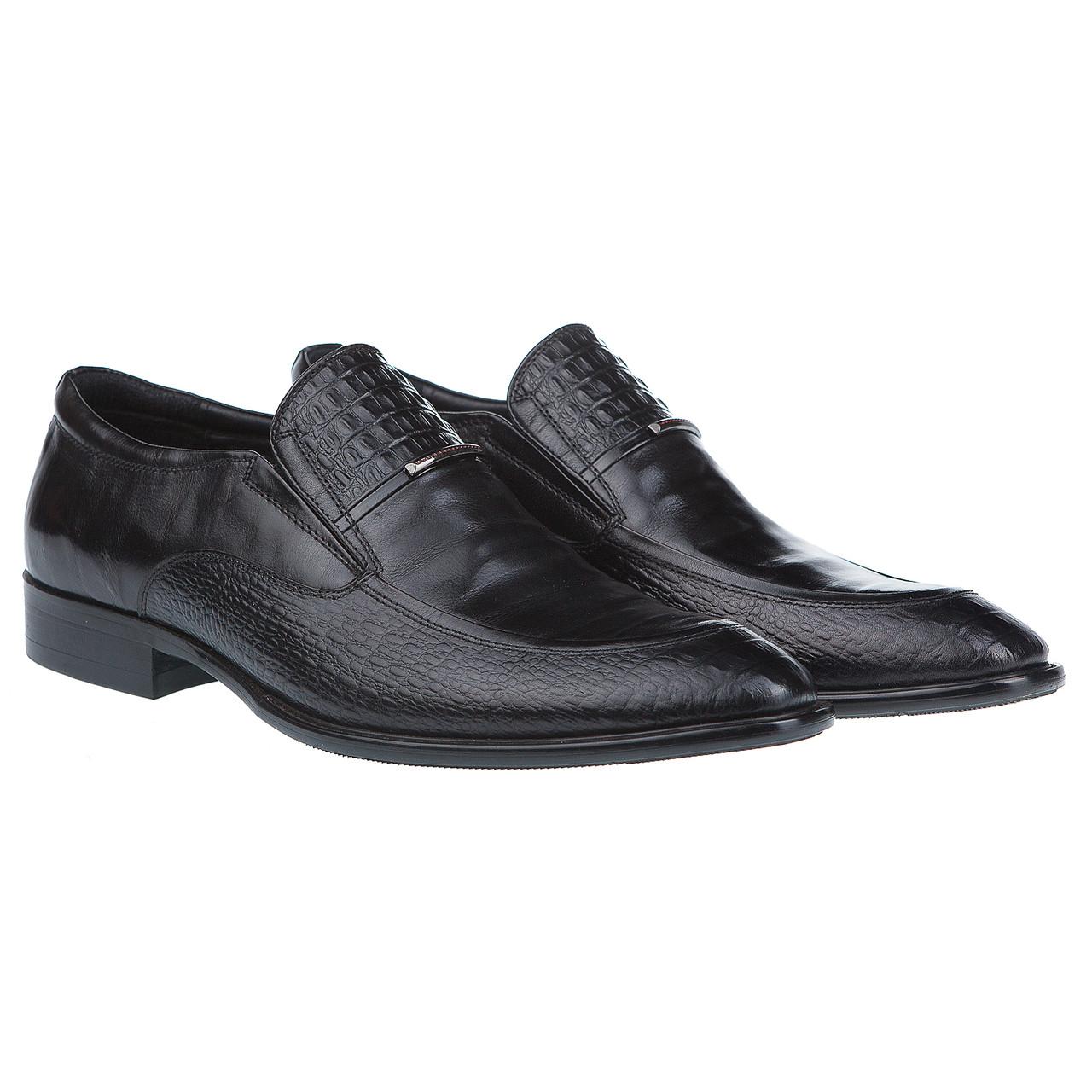 93cc06f39 Классические мужские туфли от Roberto Paulo с вставками из фактурной кожи  (модные, удобные, черного цвета)