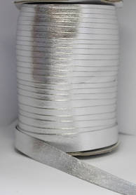 Косая бейка (рулочка) из кожзама Серебро