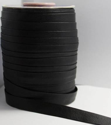 Косая бейка (рулочка) из кожзама Черная, фото 2