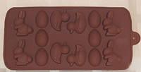 Форма силикон для конфет 1/14 заяц, утка, яйцо