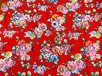 Штапель Розовые букеты (на красном) (арт. 12317) отрез 0,45 + 0,62 м