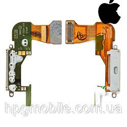 Шлейф для Apple iPhone 3GS, коннектора зарядки, с компонентами, белый, оригинал