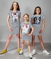 Детский летний костюм для девочки (юбка и футболка)