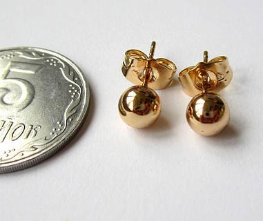 Серьги-гвоздик, шарик средний, медицинская сталь+ювелирный сплав