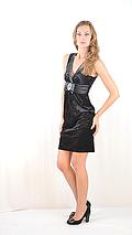 Платье стильное красивое  вечернее бархатное с атласной вставкой и бантом черное, фото 3