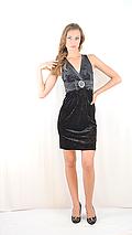 Платье стильное красивое  вечернее бархатное с атласной вставкой и бантом черное, фото 2