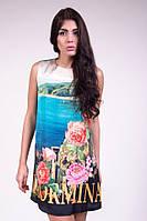 Женское короткое шелковое платье с рисунком спереди без рукавов