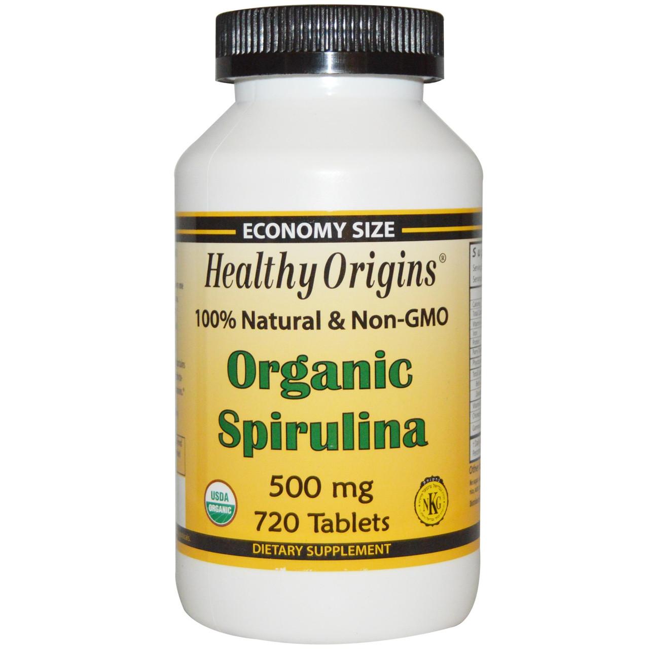 Органическая спирулина, Healthy Origins, 500 мг, 720 таблеток
