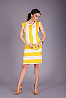 Платье без рукавов в модную широкую полоску
