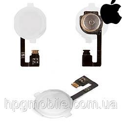 Шлейф для iPhone 4, кнопки меню, полный комплект, белый, оригинал