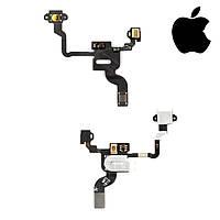 Шлейф для iPhone 4, кнопки включения, c датчиком приближения, с компонентами, оригинал