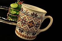 Чашка Вышиванка бело-коричневая