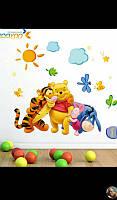 Интерьерные виниловые наклейки для детской комнаты Винни пух 27*42 см