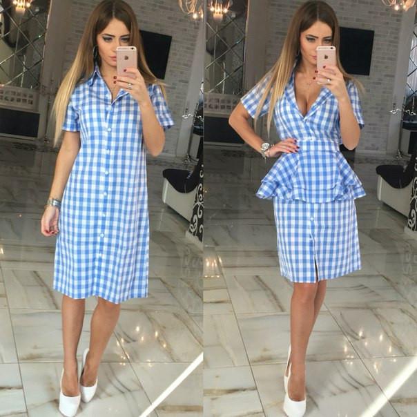 Платье-рубашка в клетку со съемной баской