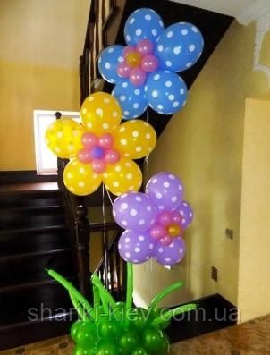 Букет-фонтан из шариков Ромашки в горошек Гелиевые на День рождения, фото 2