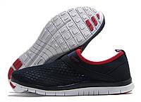 Кроссовки женские Sport без шнурков темно-синие с красным