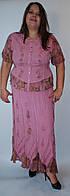 Костюм женский (блузка с юбкой), розовый, на 48-58 размеры