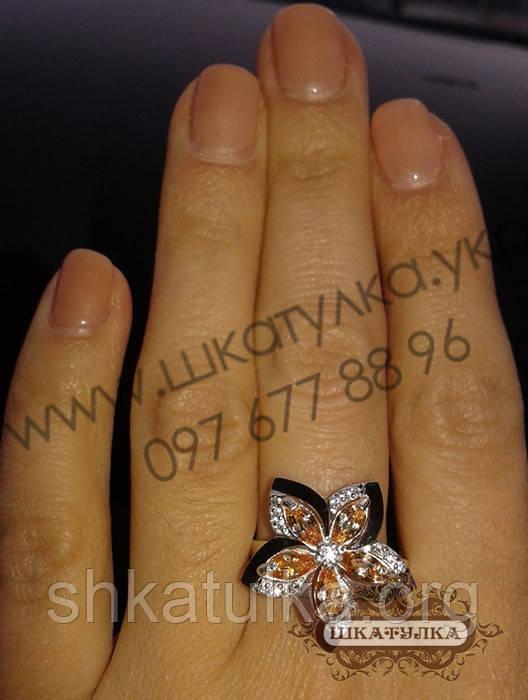 Серебряное кольцо с золотом и фианитом №90о