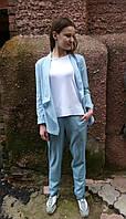 Жакет льняной голубой 42
