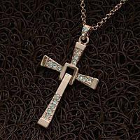 """Колье крестик """"Крест Торетто - Vin Diesel"""" кулон позолоченный кристалы Сваровски"""