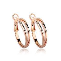 Сережки кольца женские серьги стильные позолоченные