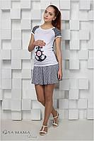 Короткая юбка для беременных Sasha, бело-синяя полоска с принтом штурвалы