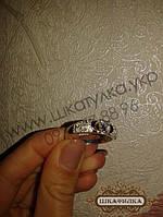 Серебряное кольцо с золотом и цирконом  №48з, фото 1