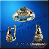 Серебряный гарнитур с золотом №49з , фото 1