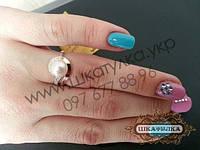 Серебряное кольцо с золотом и жемчугом №53з