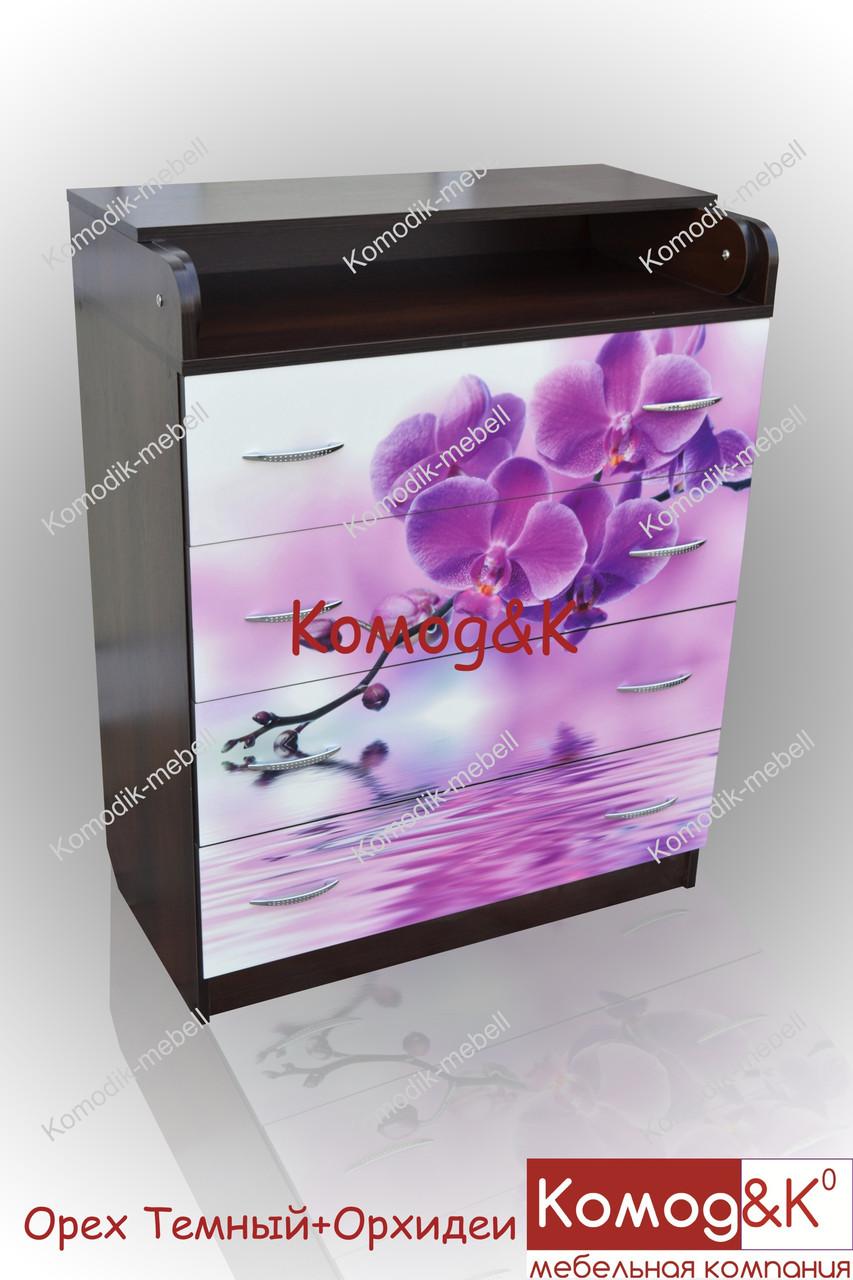 Комод пеленатор цвет Орех Темный + Орхидеи