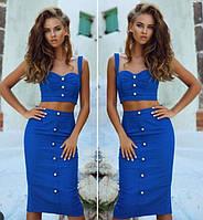 Модный джинсовый костюм юбка и топ