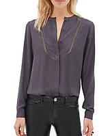Стильная женская шифоновая блузка серого цвета