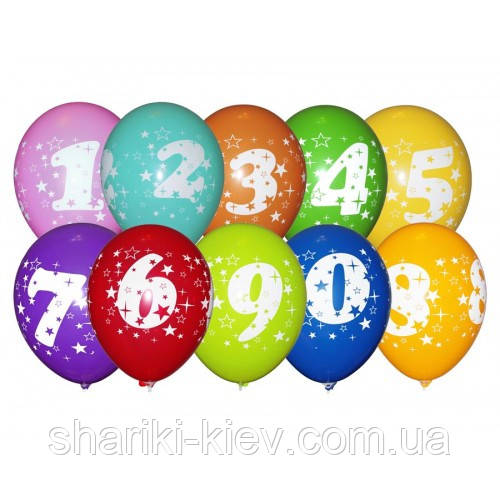 """Шарики воздушные латексные """"Цифры"""" разноцветныеі  30 см. на День рождения"""