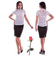 Белая рубашка для офиса и школы с гипюром по спинке М  773822  Белый