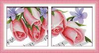 """Набор для вышивки крестом с печатью на ткани   """"Розы чувств (диптих)"""" канва 11ст"""