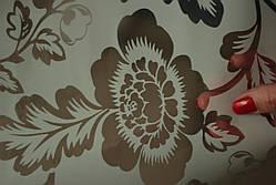 Клеёнка белая силиконовая с прозрачными крупными цветами, фото 3