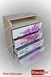 Комод пеленатор колір Дуб молочний + Орхідеї, фото 5