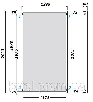 Габаритные размеры плоского солнечного коллектора Vaillant VFK 125/3