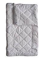 Шерстяное одеяло полуторное, Полоса, сатин хлопок 100% (140х205 см.)