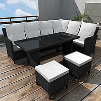 Обідній набір садових меблів: кутовий диван + пуфи + стіл