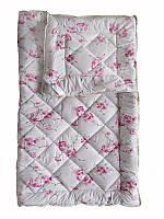 Шерстяное одеяло полуторное, бязь хлопок 100%, Розовые цветы (155х215 см.)