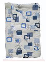 Шерстяное одеяло полуторное, бязь хлопок 100%, Синий квадрат (155х215 см.)