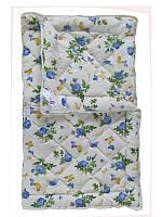 Шерстяное одеяло полуторное, бязь хлопок 100%, Голубые розы (155х215 см.)